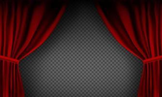 cortina de veludo vermelho colorido realista dobrada vetor