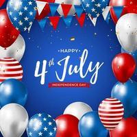 julho, 4 dia da independência no fundo dos EUA. pode ser usado como banner ou pôster. vetor