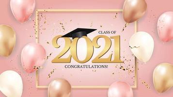 turma de formatura de 2021 com chapéu de formatura e confetes vetor