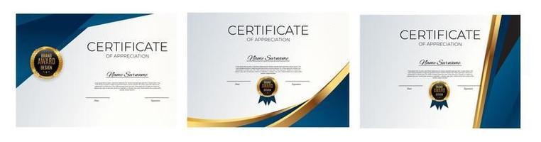 certificado de conjunto de modelo de realização. prêmio diploma design em branco. vetor