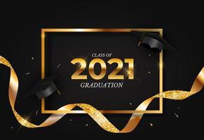 turma de formatura de 2021 com chapéu de formatura, confete e fita dourada vetor