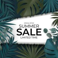 fundo natural de venda de verão com folhas de palmeira tropical de eucalipto e monstera vetor
