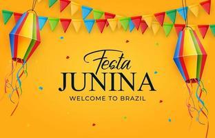 fundo de festa junina com bandeiras e lanternas de festa. fundo festival de junho do brasil para cartão comemorativo vetor