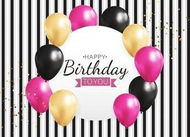 fundo de balão 3D realista para cartão de promoção de festa, feriado e aniversário vetor