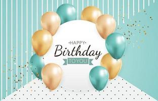 fundo de balão 3D realista para cartaz de cartão de promoção de aniversário vetor