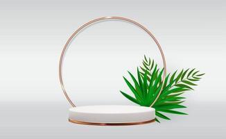 fundo de pedestal 3d branco com moldura de anel de vidro dourado e folhas de palmeira realistas para revista de moda de apresentação de produtos cosméticos vetor