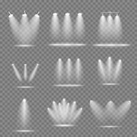 conjunto de projetores brilhantes realistas, coleção de lâmpadas de iluminação com efeitos de iluminação de holofotes vetor