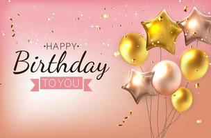 balões brilhantes de feliz aniversário, ilustração vetorial de fundo de banner vetor
