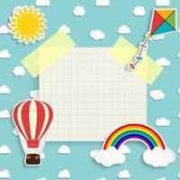 fundo infantil com arco-íris, sol, nuvem, pipa e balão vetor