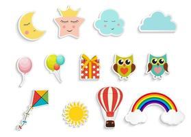 adesivos infantis com caixa de presente de balões, coruja, estrela, nuvem e conjunto de coleta de pipa vetor