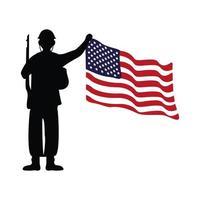 soldado com silhueta de rifle e bandeira dos EUA vetor