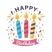 crachá de feliz aniversário com velas no fundo branco vetor