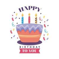 crachá de feliz aniversário e bolo delicioso com velas vetor