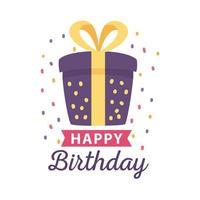 crachá de feliz aniversário com caixa de presente e decoração de confete vetor