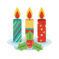 Feliz Feliz Natal, bagas e folhas com ícone de estilo simples de velas vetor