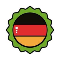 tampa de cerveja com linha de bandeira da Alemanha e ícone de estilo de preenchimento vetor