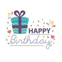 crachá de feliz aniversário com caixa de presente em fundo branco vetor