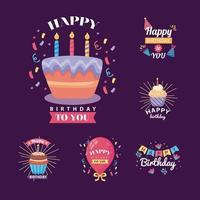 seis emblemas feliz aniversário com decoração vetor