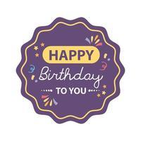 crachá de feliz aniversário roxo com decoração vetor