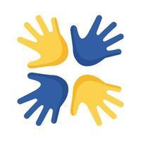 Síndrome de down mãos ao redor do ícone de estilo simples vetor