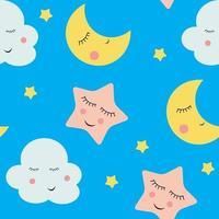 nuvens fofas, estrelas e luas de fundo sem emenda vetor