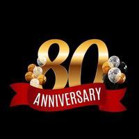 modelo de aniversário de 80 anos dourado com ilustração vetorial de fita vermelha vetor