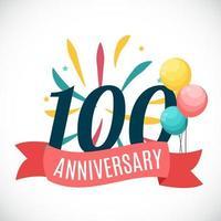modelo de aniversário de 100 anos com ilustração vetorial de fita vetor