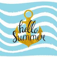 desenho abstrato fundo de verão com âncora e onda do mar vetor