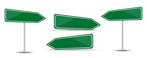sinal de estrada isolado no fundo branco. tráfego de seta verde em branco. vetor
