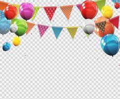 grupo de balões de hélio brilhante colorido com página em branco isolada vetor