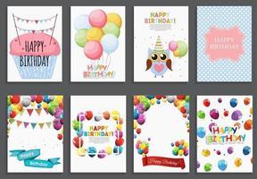 Modelo de cartão de feliz aniversário, saudação de feriado e convite com balões e bandeiras vetor