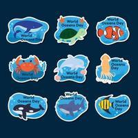 conjunto de adesivos do dia mundial dos oceanos vetor