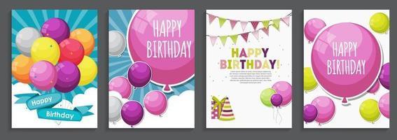 modelo de cartão de saudação e convite de feliz aniversário feriado com balões e bandeiras vetor