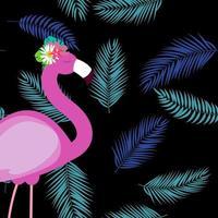 fundo de verão flamingo rosa fofo vetor