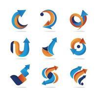 coleção de logotipo de seta vetor