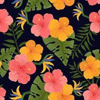 padrão de flor tropical sem costura vetor