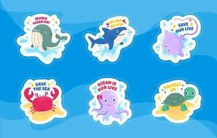 Conjunto de adesivos fofos dos desenhos animados do dia do oceano mundial vetor