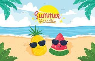 personagem fofinho de abacaxi e melancia na praia de verão vetor