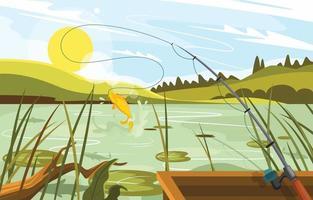 pescar no lago com bela paisagem vetor