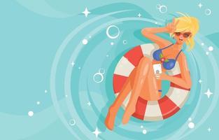 linda linda mulher de biquíni nadando na piscina vetor