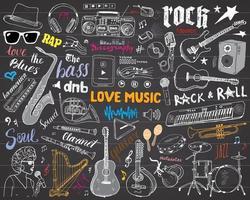 instrumentos musicais ajustados ilustração em vetor esboço desenhado à mão