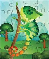 ilustração de jogo de quebra-cabeça para crianças com camaleão fofo vetor