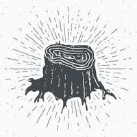 toco de árvore rótulo vintage esboço desenhado à mão grunge texturizado distintivo retrô tipografia design camiseta impressão ilustração vetorial vetor