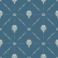 papel de parede real sem costura padrão com coroa e elementos decorativos de fundo de luxo vetor