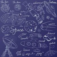 ícones de rabiscos de espaço definidos ilustração vetorial de esboço desenhado à mão sobre fundo azul vetor