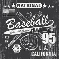 esporte de beisebol tipografia liga oriental de los angeles esboço de tacos de beisebol cruzados e camiseta de luva impressão design gráficos ilustração vetorial cartaz distintivo aplique etiqueta vetor