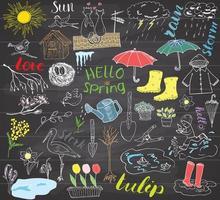 temporada de primavera definir elementos de doodles esboço desenhado à mão conjunto com guarda-chuva botas de borracha capa de chuva flores ferramentas de jardim ninho e pássaros desenho coleção doodle no quadro-negro vetor