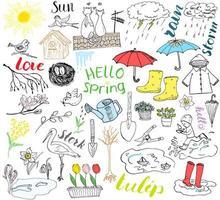 temporada de primavera definir elementos de doodles esboço desenhado à mão definido com guarda-chuva botas de borracha capa de chuva flores ferramentas de jardim ninho e pássaros desenho coleção doodle isolado no fundo branco vetor