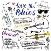 instrumentos musicais ajustados ilustração em vetor esboço desenhado à mão isolada