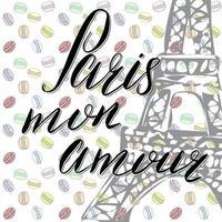 paris, letras do meu amor, assinar palavras em francês com esboço desenhado à mão torre eiffel na ilustração vetorial de fundo abstrato vetor
